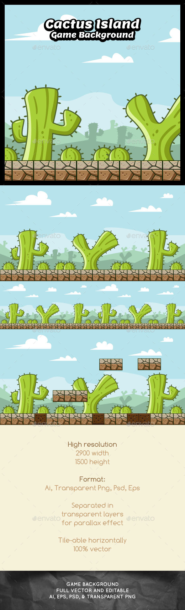 Cactus Island Game Background (Backgrounds)
