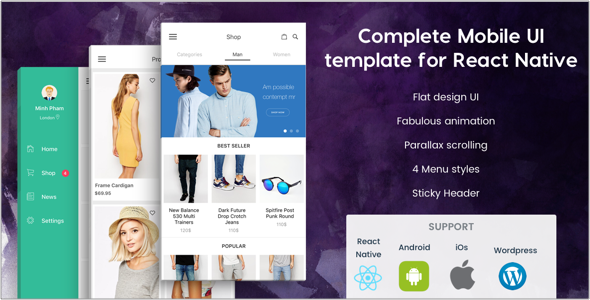 beoui complete mobile ui template for react native free nulled. Black Bedroom Furniture Sets. Home Design Ideas