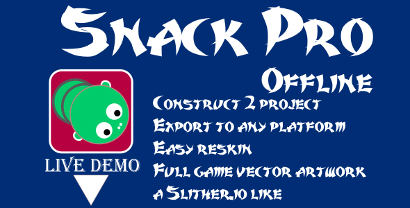 Snack Mobile Pro (AdMob, Leaderboard, IAP) - a Slither.io like