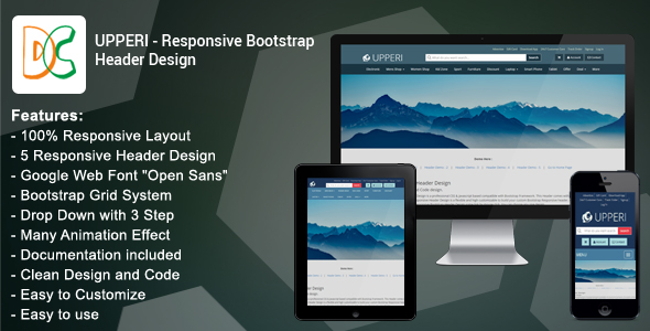 Download Upperi - Responsive Bootstrap Header Design