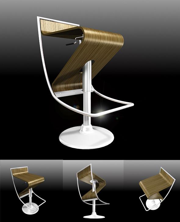 Modern Bar Stool - 3DOcean Item for Sale