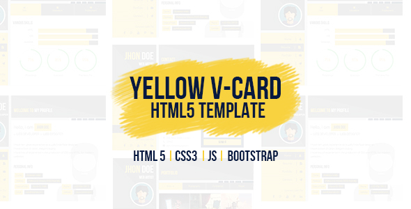 Yellow vCard Template (Virtual Organization Card)