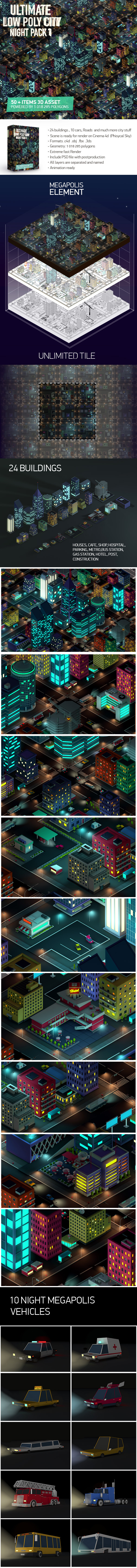 Ultimate Low Poly City Night Pack 1 - 3DOcean Item for Sale