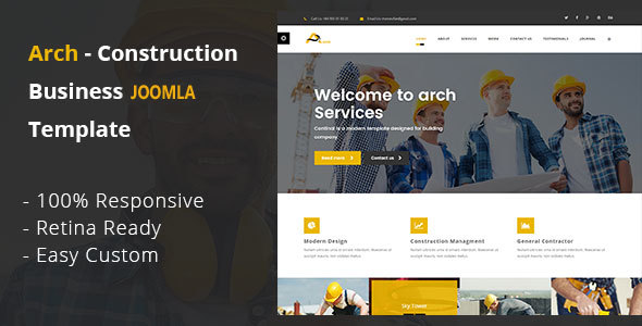 Arch - Construction, Building And Business Joomla! Template
