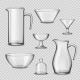 Realistic Glassware Kitchen Utensils Transparent