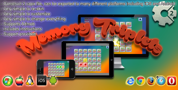 Download Memory Triplets - Construct 2 capx and Admob nulled download