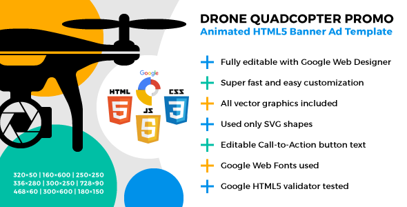 Drone Quadcopter Promo – Animated HTML5 Banner Ad Template (Ad Templates)
