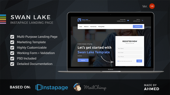 Download Swan Lake - Marketing Instapage Template nulled download