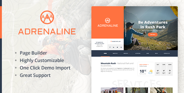 Download Extreme sports WordPress theme for outdoor adventure businesses - Adrenaline nulled download