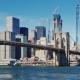 Cityscape of Manhattan and Brooklyn Bridge. Clear Autumn Day