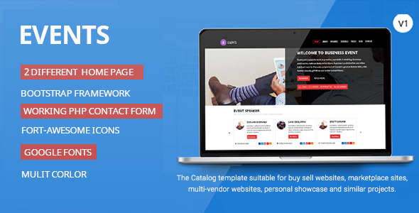 Events-Responsive HTML Template