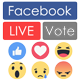 Facebook Live Reactions Vote (real-time) and Youtube, Twitch, Dailymotion