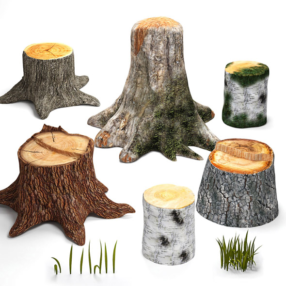 Tree stumps collection - 3DOcean Item for Sale