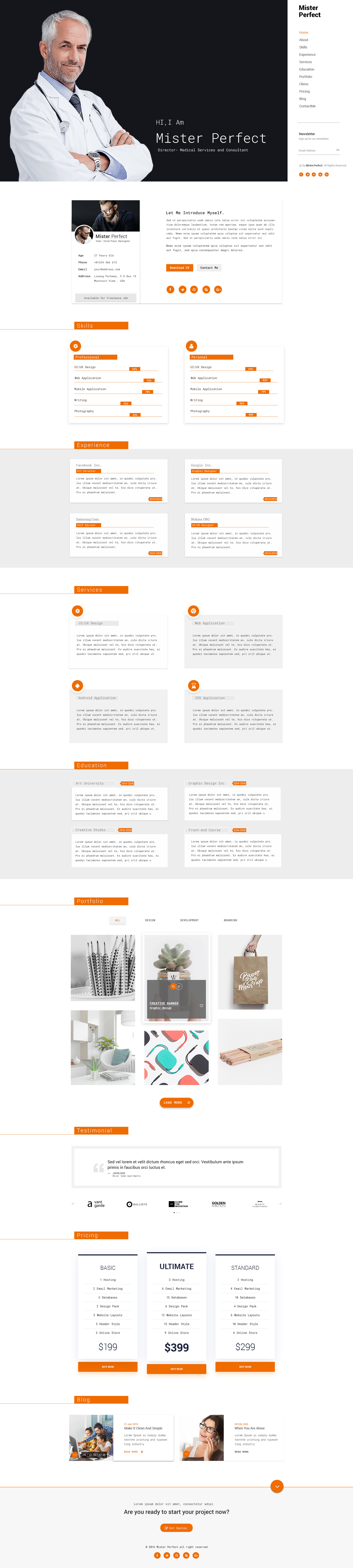 mister perfect  resume psd template by
