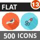 500 Vector Flat Shadowed Icons Bundle (Vol-13)