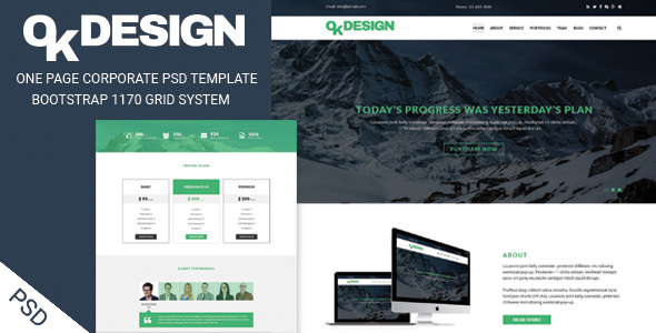 OkDesign - One page Corporate PSD Template