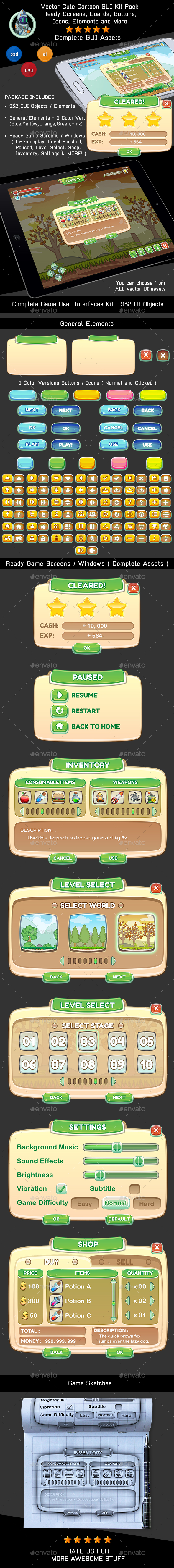 Game User Interfaces Kit - Game Screens, Buttons and Icons (User Interfaces)