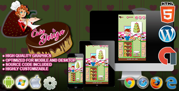 Download Cake Design - HTML5 Construct 2 Cooking Game nulled download