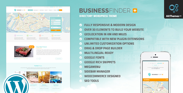 01 preview.  large preview - Business Finder: Directory Listing WordPress Theme