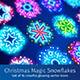 Christmas Neon Snowflakes with Magic Sparkles