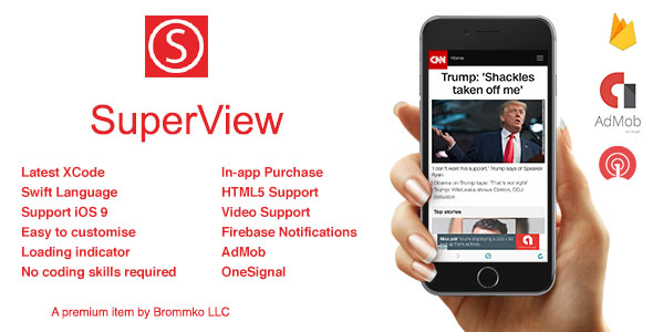 SuperView - WebView App for iOS with Push Notification, AdMob, In-app Purchase - CodeCanyon Item for Sale