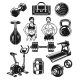 Set Icons for Bodybuilding Isolated on White.