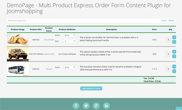 Joomshopping Multi Product Express Order Form Content Plugin by – Product Order Form