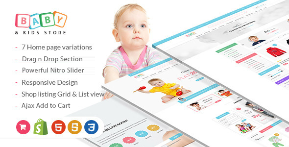 Baby Store - DRAG and DROP, clean, responsive Shopify themes