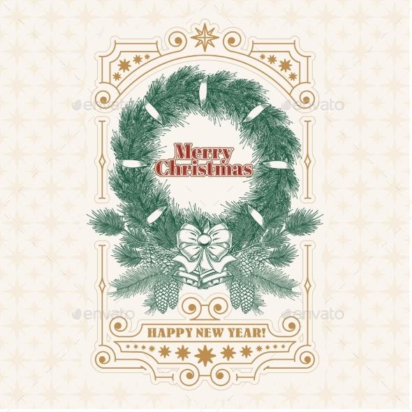 Christmas Greeting Card with Fir Wreath
