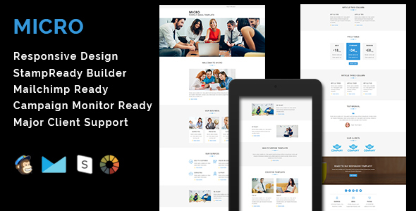 Download MICRO - Multipurpose Responsive Email Template With Stamp Ready Builder Access nulled download