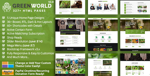 GreenWorld - Nonprofit Environment Responsive HTML5 Template