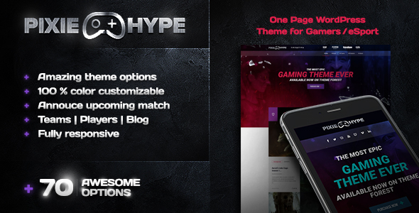 PixieHype | One page WordPress theme for Gamers/eSport