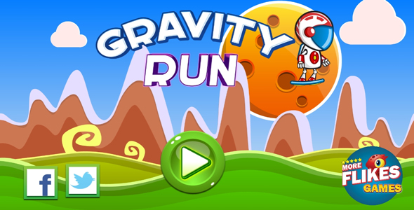 Download Gravity run - HTML5 game. Construct 2 (.capx) + mobile