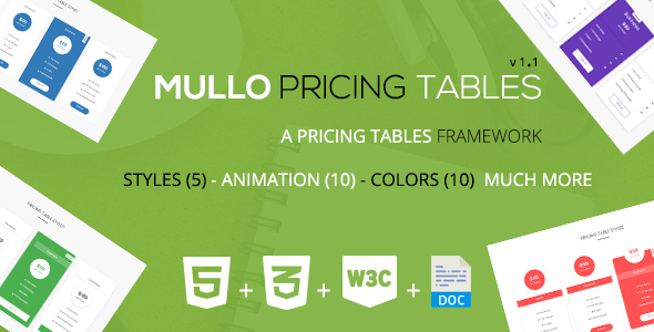 Download Mullo - A Responsive Pricing Tables Framework | v1.1
