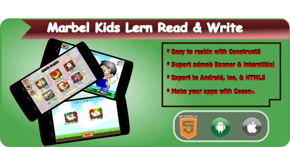 Download Marbel Kids Learning Read & Write HTML5 Mobile Applications + Admob