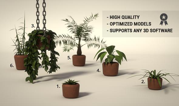 Potted Plants Set - 3DOcean Item for Sale