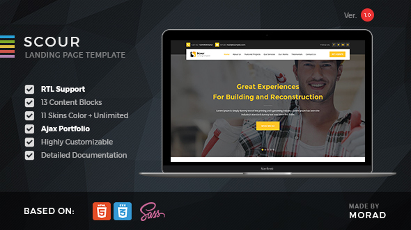 Download Scour - Contstruction HTML Landing Page nulled download