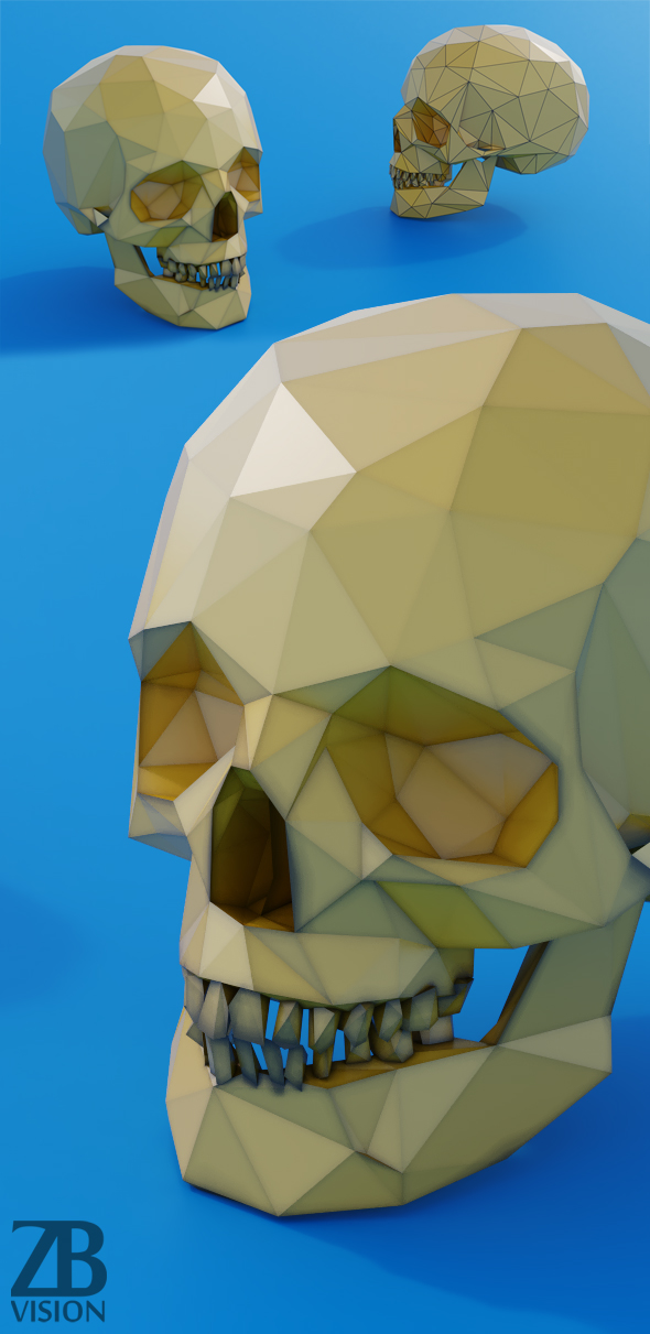 Lowpoly Skull - 3DOcean Item for Sale