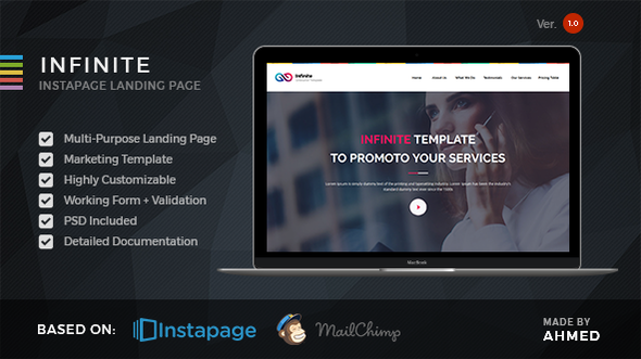 Download Infinite - Marketing Instapage Template nulled download