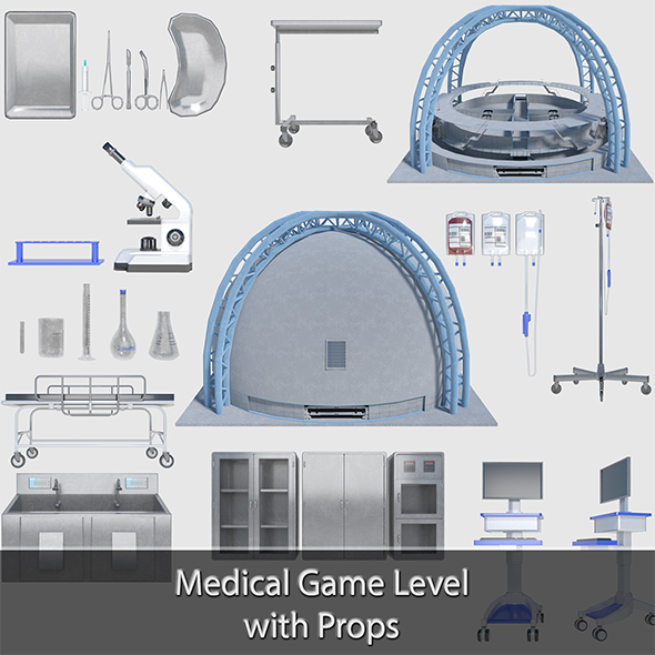Medical Building with Props - Game Level Pack - 3DOcean Item for Sale