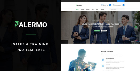 Palermo : Sales &amp Education PSD Template (Small business)