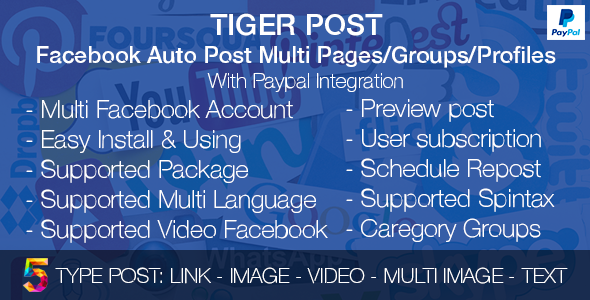 Download Tiger Post – Facebook Auto Post Multi Pages/Groups/Profiles with Paypal integration