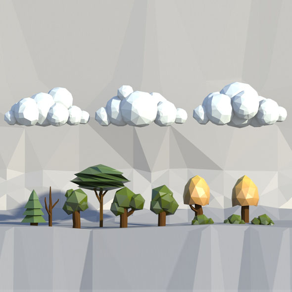 Low poly trees, clouds, bushes - 3DOcean Item for Sale