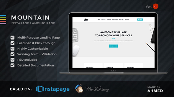 Download Mountain - Marketing Instapage Template nulled download