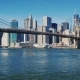The Famous Brooklyn Bridge in New York, USA. Clear Autumn Day, Morning