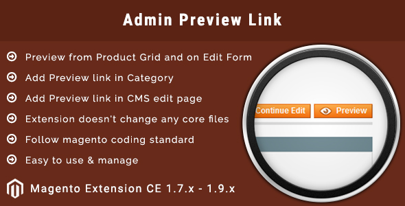 Admin Preview Button Magento Extension