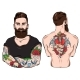 Tattooed Man Character Set