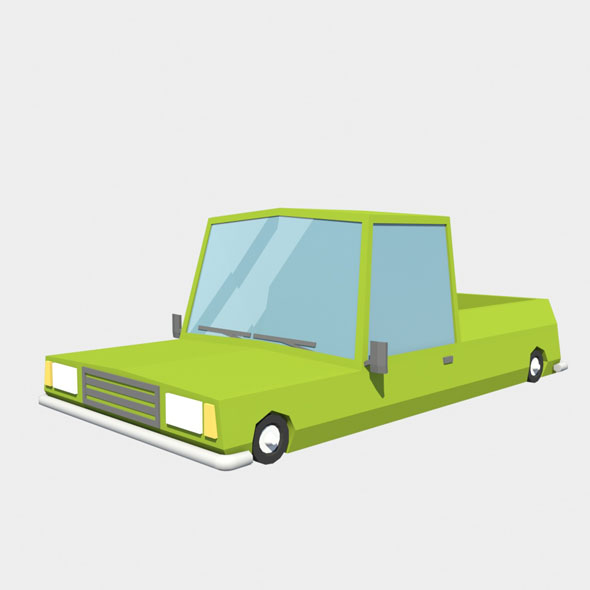 low poly pickup car - 3DOcean Item for Sale