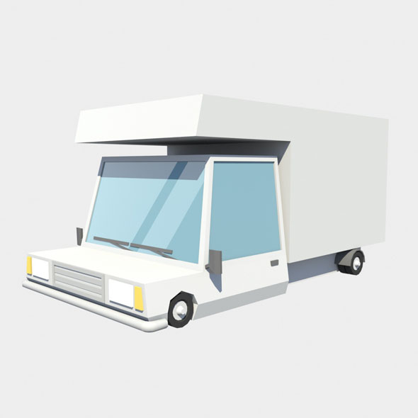 low poly fourgon car - 3DOcean Item for Sale