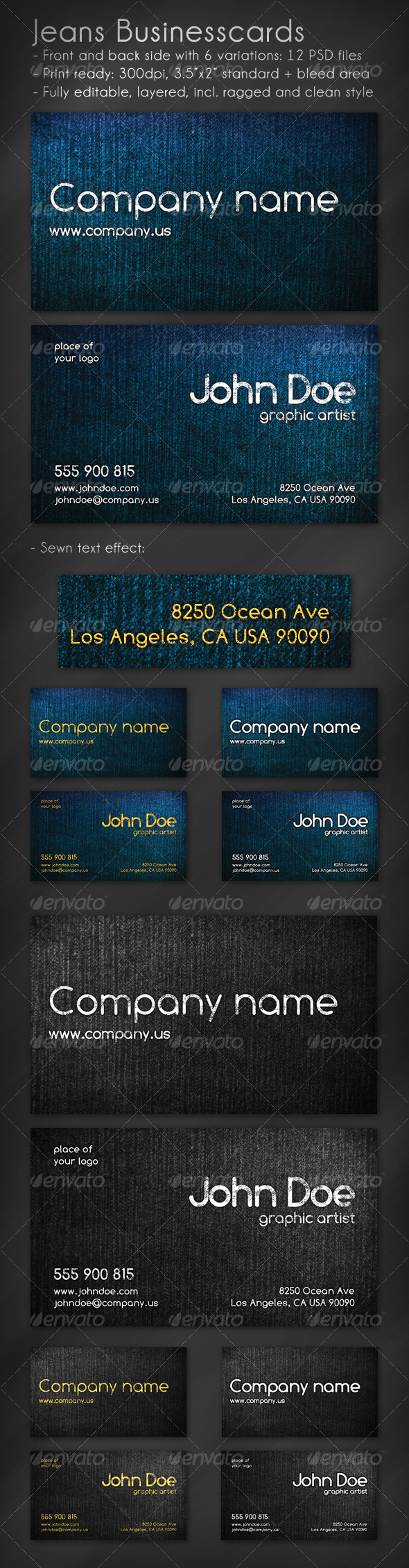Jeans Business Card - Grunge Business Cards